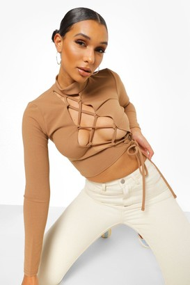 boohoo Lace Up Front Long Sleeve Top