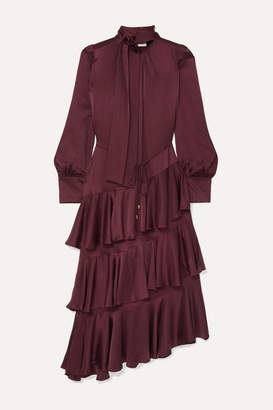 Zimmermann Espionage Pussy-bow Ruffled Silk Dress - Chocolate