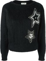 Saint Laurent star embroidered textured sweater