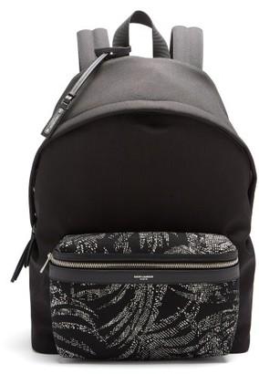 Saint Laurent City Canvas Palm-print Pocket Wide Backpack - Black White