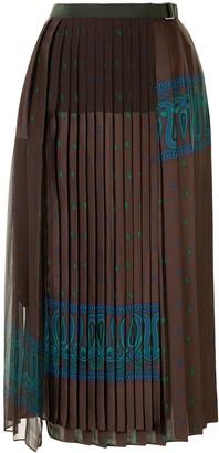 Sacai Paisley-Print Pleated Skirt