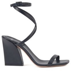 Strappy leather sandals with flared block heel