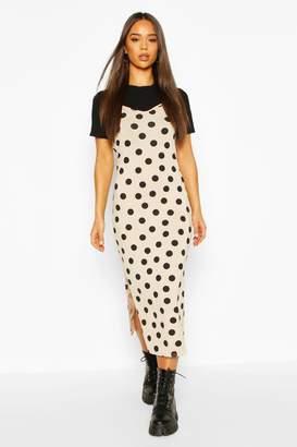boohoo Polka Dot T-shirt Layered Slip Dress