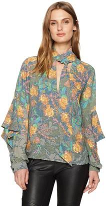 BCBGMAXAZRIA Women's Jade Woven Tie-Neck Floral Top