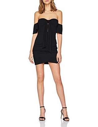 NEON COCO Women's Tie-Front Cutout Bodycon Dress Party, Black (Negro C10), Large