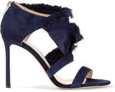 Jimmy Choo Kiki Ruffled Satin And Suede Sandals - Midnight blue