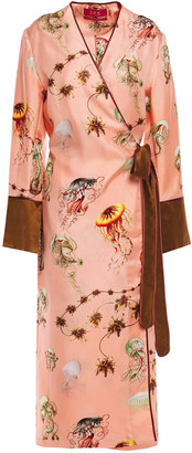 F.R.S For Restless Sleepers Dolos Printed Silk-twill Midi Wrap Dress