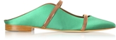 Malone Souliers Maureen Emerald Green Satin and Rose Gold Nappa Leather Flat Mules