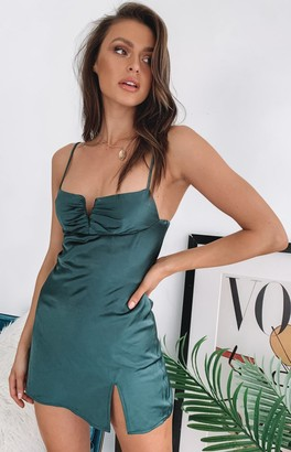 Beginning Boutique Omi Mini Satin Dress Emerald