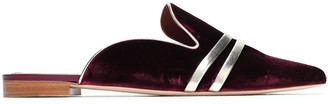 Malone Souliers Hermoine Metallic Leather-trimmed Velvet Slippers