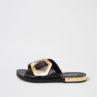 River Island Black buckle cross over strap sandals