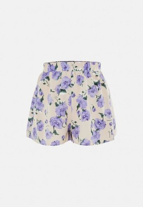 Missguided Purple Co Ord Floral Shorts