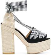 Castaner high block heel peep toe pumps
