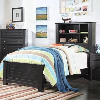 Saylor Platform Bed with Bookcase Harriet Bee Size: Full, Bed Frame Color: Black