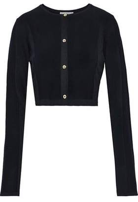 Versace Cropped French Terry-paneled Ribbed-knit Cardigan