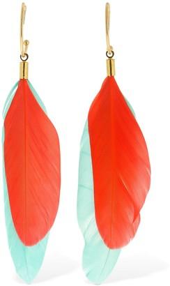Mercedes Salazar Chaman Feather Charm Hoop Earrings