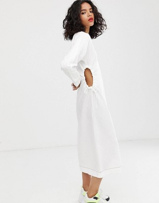 Asos Design DESIGN v neck midi dress with cut out sides in textured fabric-White