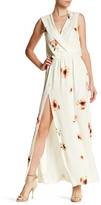 Haute Hippie Silk Floral Surplice Neck Split Leg Maxi Dress