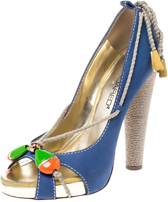 DSQUARED2 Blue Nubuck And Jute Trim Embellished Open Toe Block Heel Pumps Size 38