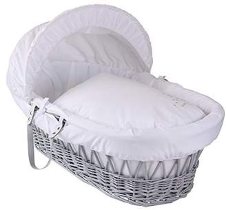 Clair De Lune Starburst Grey Wicker Moses Basket, White