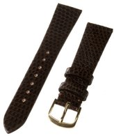 Republic Men's Genuine Java Lizard Watch Strap 18mm Long Length, Brown