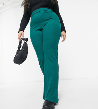 Outrageous Fortune Plus Exclusive wide-legged flared pants in emerald green