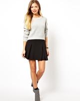 Asos Box Pleat Skater Skirt in Ponte - Black