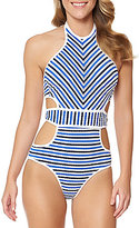 Jessica Simpson Maritime High Neck Lace-Up Back Monokini One-Piece