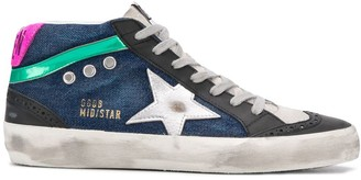Golden Goose Mid-Star lace-up denim sneakers