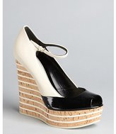 Gucci black and stone colorblock leather cork wedges
