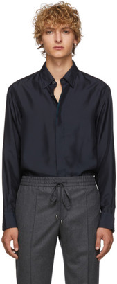 Brioni Blue Silk Regular Shirt