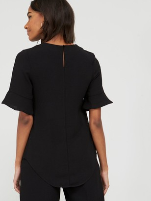 Very Fluted Short Sleeve Top - Black