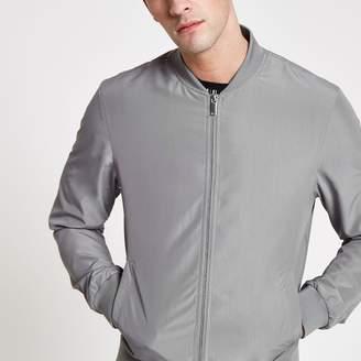 River Island Mens Grey long sleeve bomber jacket