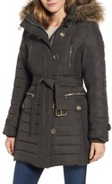London Fog Women's Belted Down Coat With Faux Fur Trim