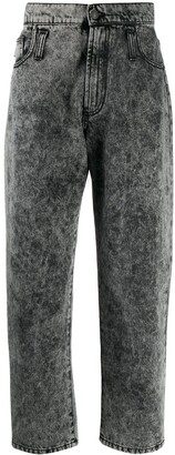 MSGM Acid Wash Barrel Leg Jeans
