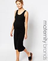 Mama Licious Mama.licious Mamalicious Ruched Front Sleeveless Midi Dress