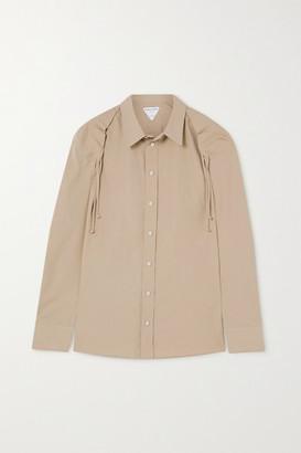 Bottega Veneta Ruched Cotton-blend Poplin Shirt - Sand