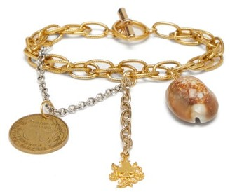 Marine Serre Upcycled Shell And Coin-charm Chain Bracelet - Womens - Gold
