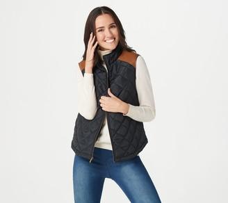Du Jour Puffer Vest with Faux Leather