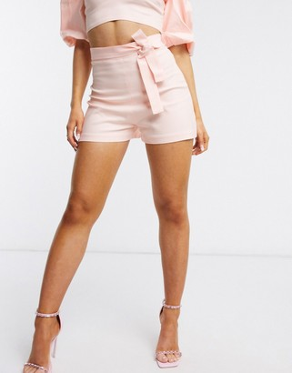 Vesper tailored shorts with tie belt co ord in pale pink