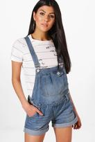 boohoo Rina Denim Dungaree Shorts mid blue