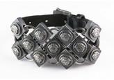 Versace Gianni Mail Medusa Motif Chain Leather Bracelet