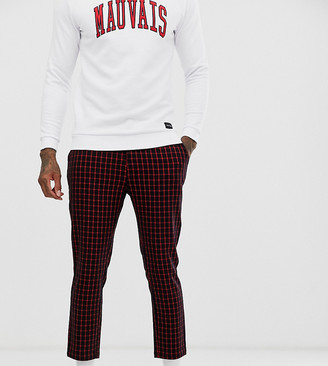 Mauvais skinny cropped pants in red check