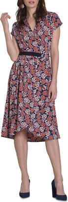 Neiman Marcus Reign Berry-Print Wrap Dress