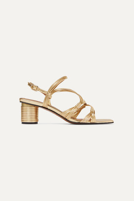 Souliers Martinez - Cartagena Metallic Leather Sandals - Gold