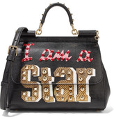 Dolce & Gabbana Sicily Medium Ayers-appliquéd Lizard-effect Leather Tote - Black