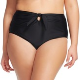 Ava & Viv Women's Plus Size Tied High Waist Swim Bottoms Black
