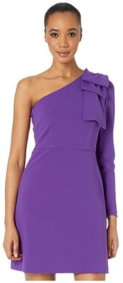 Donna Morgan One Shoulder Stretch Crepe Dress with Front Slit (Bright Purple) Women's Clothing
