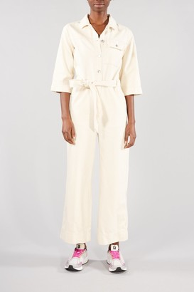 Selected WHITE ECRU DENIM HELENA JUMPSUIT - 34