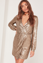 Missguided Long Sleeve Sequin Wrap Dress Gold